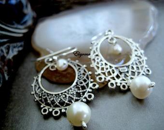 Mexico filigree etsy boho mexican lace filigree chandelier earrings arracadas de plata con perlas pearl mexican chandeliers mozeypictures Images