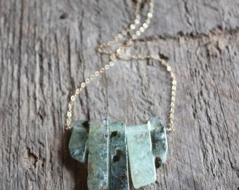 Prehnite Stone Bib Necklace-Gold