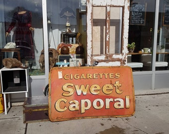 Sweet Caporal Cigarettes Vintage Rustic Tin Advertising