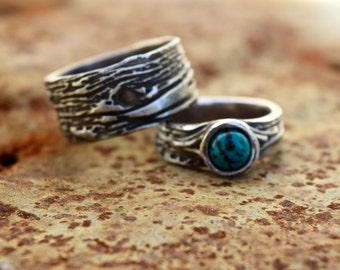 Nature Wedding Rings his and hers set Tree Bark bands
