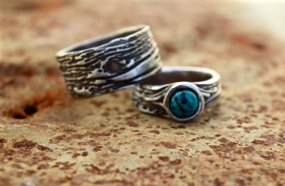 Turquoise Wedding Ring SET Tree Bark Artisan Woodgrain Nature