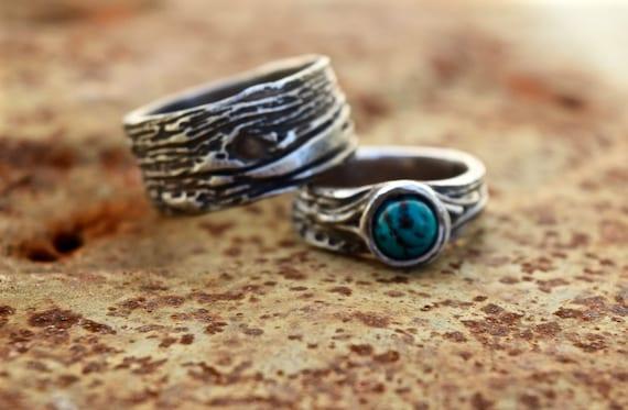 Turquoise Wedding Ring SET Tree Bark Artisan Woodgrain Nature