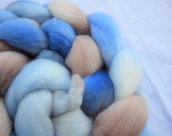 Blue and Fawn Polwarth - Hand Dyed Wool Roving (Top) - 100g