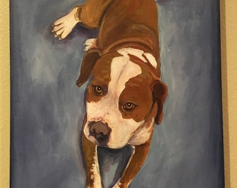 "Dog acrylic painting on canvas ORIGINAL 16""x20"""