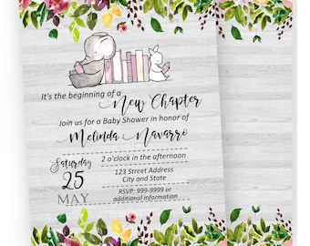 50% off Storybook Baby Shower Invitation, Storybook Baby Shower, Storybook Invitation, Once upon a time, Back included- printed