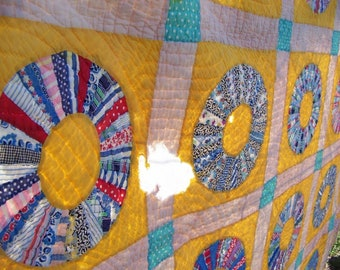REDUCED Vintage Hand Done Yellow Feedsack Quilt Repair Quilt Project Quilt Dresden Plate Quilt 64 x 80
