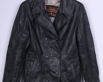 Vintage Womens S Leather Jacket Black Double Breasted Classic Design