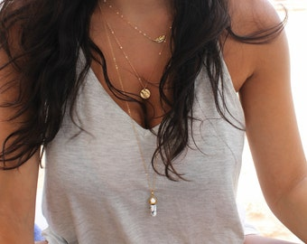 Boho Chic Layered SET of three necklaces,little gold leaf,Initial disc & howlite pendant, 14Kt Gold Filled personalized stamped tag,3 chains