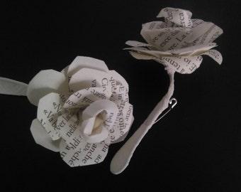 Paper rose brooch for the groom's pocket
