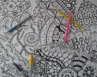 Instant Download Doodle Coloring Pages - 5 Printable Designs  - Set 10