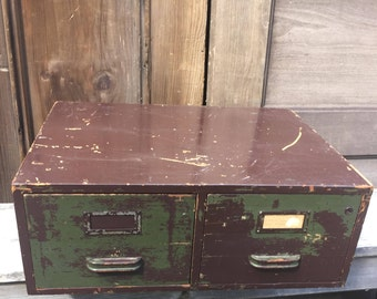 Antique Wood Two Drawer Cabinet
