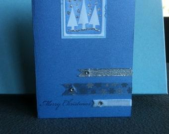 Blue Snowflake Merry Christmas Card
