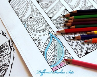 Printable bookmarks, coloring pages, Zendoodle coloring, doodles download, adult coloring pages, zentangle inspired, zendoodle bookmark, diy