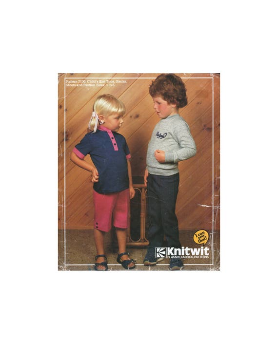 80s Knitwit 7100 Childs\' Knit Tops with Long or Short Sleeves, Pants ...