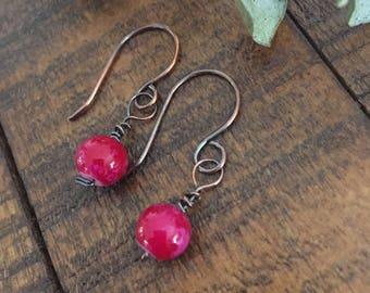 Copper and bead dangle earring,copper drop earring,red bead earring,gift for her,copper and bead jewelry