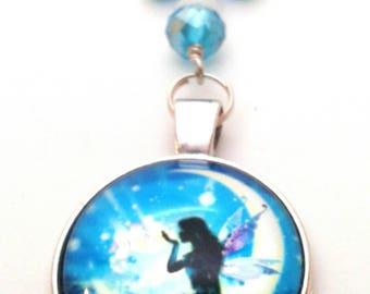 Teal fairy moon keychain