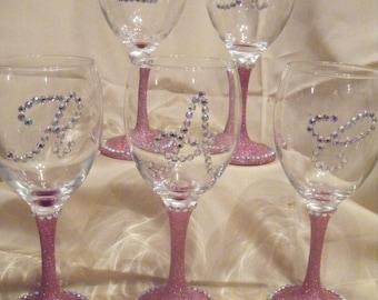 Personalised Glittered Wine Glasses