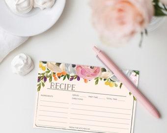 Recipe Card Printable - Printable Recipe Card - Bridal Shower Recipe Cards - 4x6 Recipe Card - Sweet Blooms - Creative Union Design