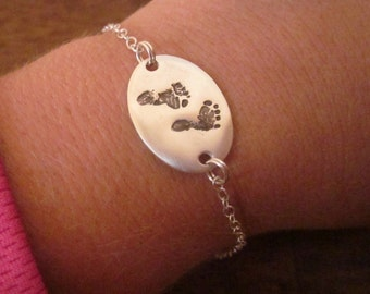TWO SIDED baby footprint bracelet made from your baby's footprint  - fine silver- custom and personalized