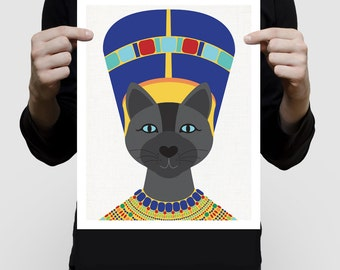 Neferkitty cat art print - egyptian queen kitten Nefertiti - girls nursery kids art illustration cat lover wall decor, sphynx cat animal art
