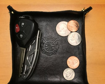 Leather Valet Tray with Fire Department Stamp