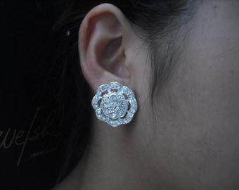 SALE - Aaliyah Collection, Bridal Earrings, Rhinestone flower Crystal earrings, Vintage Style Bridal Earrings, Weddng Jewelry