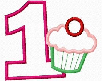 Birthday Cupcake Cherry First 1 one Applique Machine Embroidery Design 4x4 and 5x7