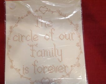 """Printed Cross Stitch Sampler--""""The circle of our family is forever"""" by American Stitchery"""