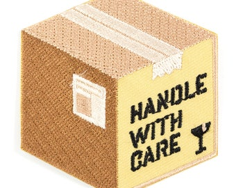 Handle With Care Box Embroidered Iron-On Patch