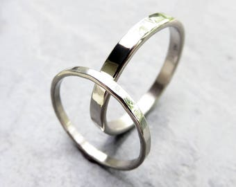 Hammered Matching Wedding Band Set in Solid 14k White Gold - 2mm and 3mm Flat Bands - Polished or Matte, Hypoallergenic Palladium Available
