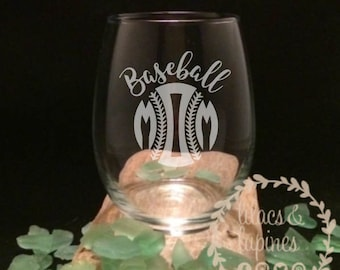 Baseball Mom Glass | Baseball Etched Stemless Wine Glass | Baseball Mom | Etched Baseball Mom Glass | Mom Gift Mom Birthday Baseball Mom
