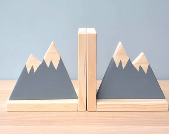 Gray Mountain Bookends, Bookends for Kids, Child Bookend, Mountain State, Scandinavian Decor, Woodland Nursery Decor,  Woodland Theme