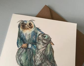 Illustrated Fantastic Beasts and Where to Find Them Themed Birthday Christmas Card - Mooncalf & Demiguise Blue Card - Harry Potter Gift - UK
