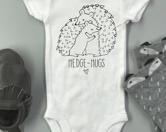 Hedge-hugs baby Onesie ®  - baby bodysuit / cute animal hedgehog onesie