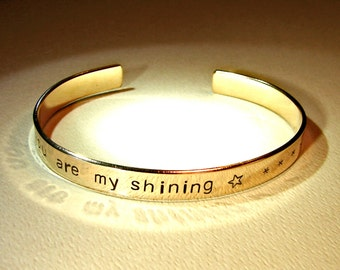 You are my shining star bronze cuff bracelet with mirror finish for love or the 8th anniversary  - BR972