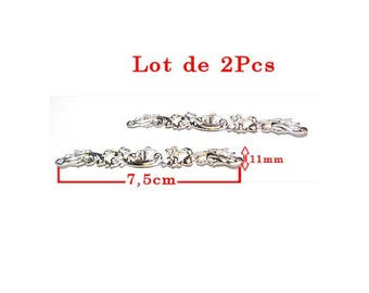 Vintage line shell embellishments and leaves. Length 7.5 cm and height 11mm, silver tone set of 2Pcs