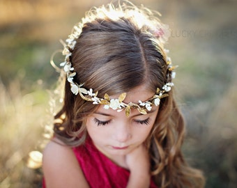 Gold Halo Flower Crown, Greek Flower Crown, Gold Ivory Flower Crown, Greek Goddess, Ivory Flower Crown, Gold Leaf Flower Crown, Woodland