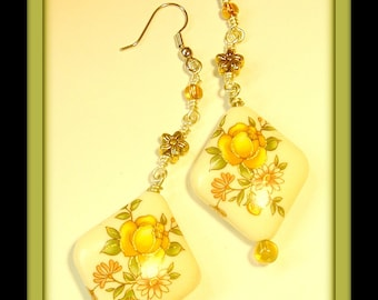 Golden botanicals...wire wrapped dangle earrings