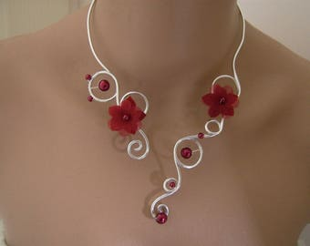Original Burgundy/Red/silver necklace, aluminum p dress of bride/wedding/party/ceremony/flower beads