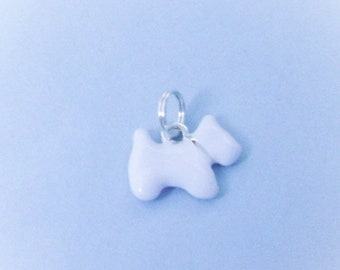 Silver Plated Westie Dog Charm, White Enamel, Double-Sided