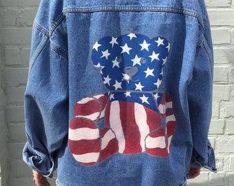 SALE***Vintage USA teddy bear 1990s denim jacket Size Large