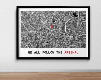 Arsenal Football Poster, Football Poster, Football Print, gift, Map Print,  Present