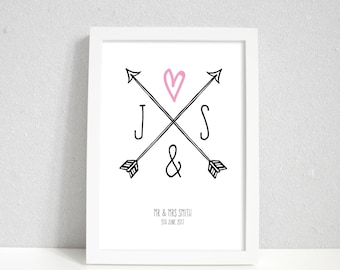 Personalised initials wedding gift, home decor print, housewarming gift for couple, Anniversary gifts
