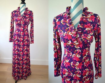 Vintage 1970s Maxi Dress with Long Sleeves and Ruffle Hem and V-Neck - Small Floral Print - Purple Pink White Mustard Flower Clusters