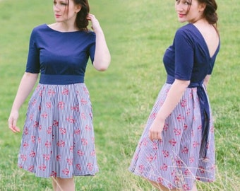 Navy stripe dress, nautical dress, stripe dress, midi dress, cotton dress, autumn dress, anchor dress, open back dress, navy dress,