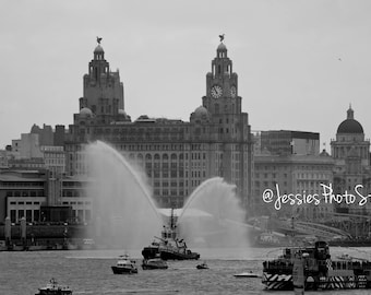 Liverpool - Busy Waters Canvas Photograph Size - A2, A3 + A4.
