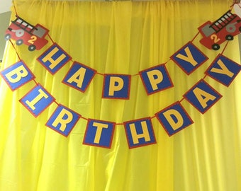 Firetruck birthday banner