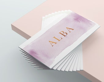 Watercolour Business Cards, Bloggers Business Card, Baby Pink Business Cards, Classy Business Card, Feminine Business Cards Template
