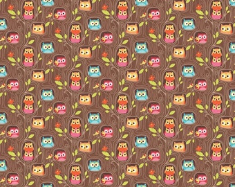 Happy Flappers Hideout Brown by Kelly Panacci for Riley Blake, 1/2 yard