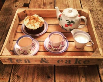 Personalised rustic serving tray, tea coffee and cake. afternoon tea country cottage drinks tray